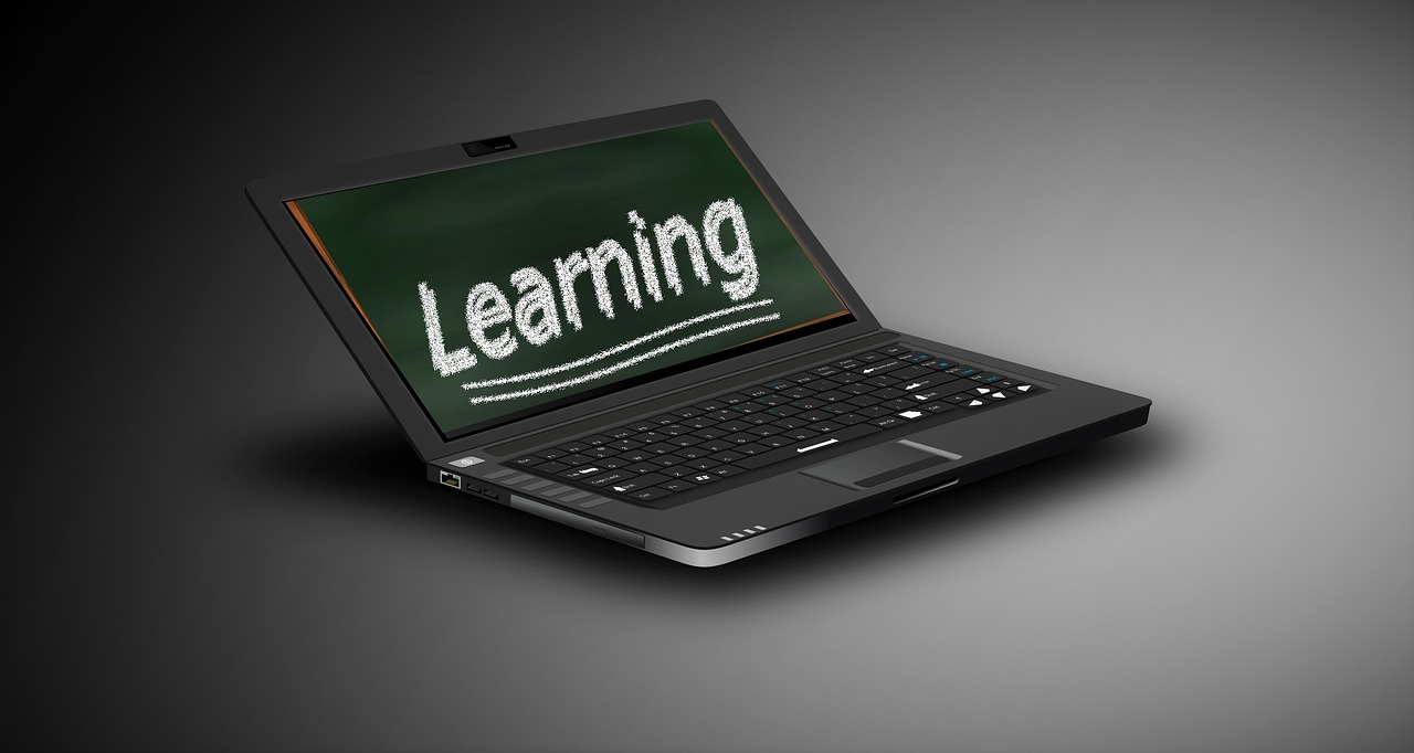 "Computer with ""learning"" on screen"